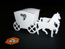 50 HORSE & CARRIAGE  WHITE - IVORY- Silver -Black- Pink etc wedding favour boxes