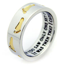 Christmas Gift Golden Footprints Stainless Steel Ring  Size 6-9