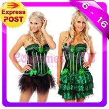 New Burlesque Green Satin Bustier Lace up corset,g string, skirt S,M,L,XL,2XL