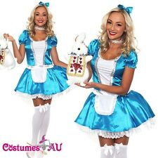 Ladies Alice in Wonderland Costume Halloween Book Week Outfit Disney Fancy Dress