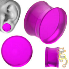 Purple Double Flare Plugs Solid Ear Gauge Body Jewelry Tunnel Earlets Earrings