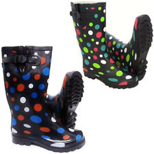 Ladies Polka Dot Designer Spot Festival Wellies Wide Calf Fit Wellington Boots