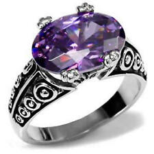 Stainless Steel Ornate Oval Amethyst CZ Cocktail Ring Size 5/6/7/8/9/10 FSH
