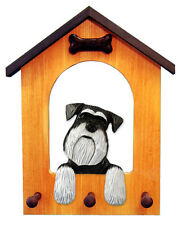 Schnauzer (Natural) Dog House Leash Holder. In Home Wall Decor Products & Gifts.