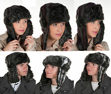 New Adults Russian Check Trapper Hat with Faux Fur Trim Winter Ski . One Size 51