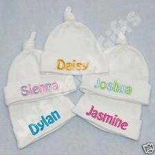Personalised Newborn Baby Knotted Hat, ADD ANY NAME! Birth/Christening Gift