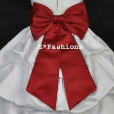 APPLE RED TIE BOW SASH FOR CHRISTMAS FLOWER GIRL DRESS sz S M L 2 4 6 8 10 12 14