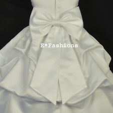 IVORY SATIN TIE BOW SASH FOR WEDDING FLOWER GIRL DRESS sz S M L 2 4 6 8 10 12 14