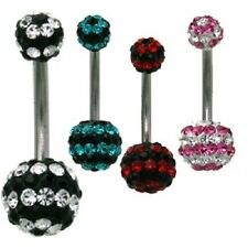 Curved Belly Ring Navel Clear Black Aqua Red CZ Gem Body Jewelry Cubic 14g 7/16