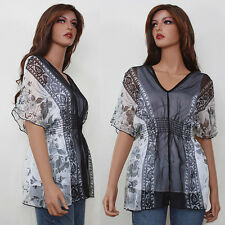 New Black White Floral Print Kimono Tunic Top V Neck Elastic Empire Waist SMALL