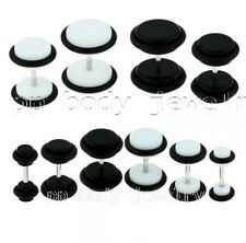 00-0-2G~(10mm,8mm,6mm) Black Acrylic FAKE PLUGS~16Ga~1.2mm Shaft (Specify Size)