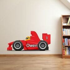 WALL STICKER ART PERSONALISED NAME CAR RALLY BOY BEDROOM F1 NURSERY WALLPAPER
