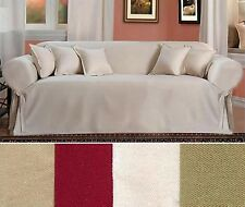 All Cotton 100% Brushed  Twill one-piece SOFA Slipcover IN FOUR COLORS NEW