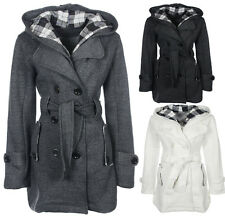 Ladies Belted Button Winter Jacket Womens Sizes 8 10 12 14