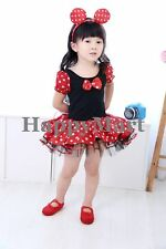 NWT Disney Minnie Mouse Costume Party Tutu Dresses Dance Ballet Leotard Sz: 1-6T