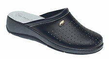 Ladies Navy Clogs Mule Kitchen Hospital Leather Nurse Shoe New Size 3 to 8 Heel