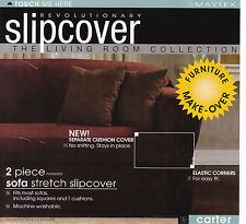 Maytex Carter Stretch 2-Pc Slipcovers for Sofa Loveseat Chair or 4pc Recliner