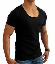 MEN'S PLAIN blank BLACK FITTED DEEP SCOOP NECK T-SHIRTS sizes S to XL slim fit
