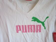 NWT PUMA girls sparkly cat v neck ss tee L 10/12 Pink white