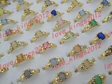 Fashion Jewelry Wholesale Colourful Natural Cat Eye Gemstone Gold P Rings FREE