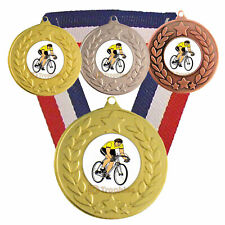Cycling Medal & Ribbon, Engraved, Cycling Trophy Award Yellow Jersey, Biking 1st