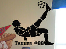 Boy's Soccer Player Vinyl Wall Decal Sticker w/Custom Name
