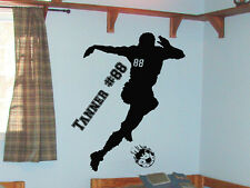 Boy's Soccer Player Sports Vinyl Wall Decal Sticker w/Custom Name