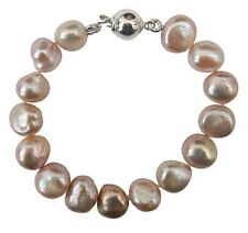 Children's Cultured Freshwater Lilac Baroque Pearl Bracelet with a silver clasp