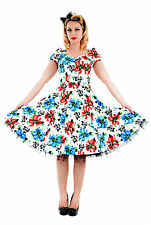 Blue Red Floral 40s 50s Vintage Style Netted Party Prom Swing Tea Dress New 8-18