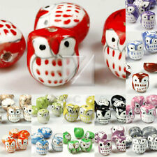Wholesale 10pcs Porcelain Owl animal Beads charm 17x15mm Fit bracelet Free Ship