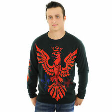 # G09H03 RAW 7 Men's Charcoal Sweater with Red Royal Eagle Design