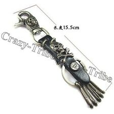 Men's Skull Leather Belt Loop Tool Keeper multi Ring Holder key chain ring k100