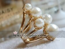 Fashion Imitate White Pearl Golden Ring For Women