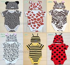 Baby / Toddler Unisex Safari Animal Print Outfits w/ Hat 3-18 months 6 styles