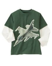GYMBOREE GRIZZLY LAKE GREEN FIGHTER JET PLANE DOUBLE SLEEVE TEE 3 4 5 6 NWT