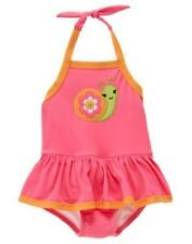 GYMBOREE GROWING FLOWERS PINK SNAIL SKIRTED 1-PC SWIMSUIT 18 24 2T NWT