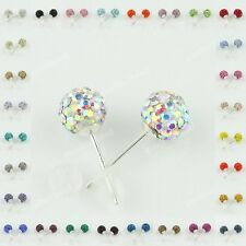 925 Sterling Silver Czech Crystal Rhinestone Pave Disco Ball Stud Earrings 6MM