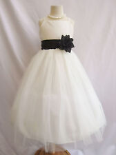 IVORY  BLACK FLOWER GIRL PAGEANT BRIDAL PARTY TULLE PRINCESS QUINCEANERA DRESS