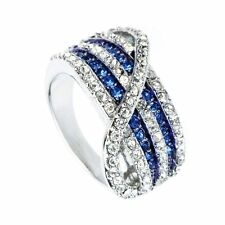 18K White GP ARINNA new awesome sapphire Cocktail Fashion Ring Swarovski Crystal