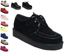 NEW WOMENS PLATFORM LACE UP LADIES FLAT CREEPERS GOTH PUNK SHOES UK SIZES 3-8