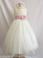 NEW BABY FLOWER GIRL WEDDING PARTY  DRESSES  IVORY PINK
