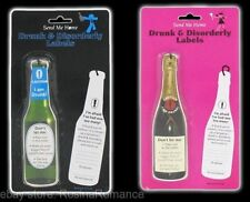 5 per pack Drunk & Disorderly Bottle Tag Label Men / Women Stag Hen Night Party
