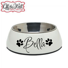 """Pet Dish """"FOOD & WATER DISH"""" Vinyl Lettering Decal Sticker PERSONALIZED"""