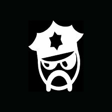 COP Sticker Police Vinyl Decal State Trooper Head Angry Mustache Funny Cute Gift
