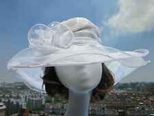 Women Dress Church Wedding Kentucky Derby Wide Brim Hat 8 color Organza A002