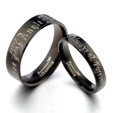 Black Couple His&Her Anyword Matching Wedding Engagement Titanium Rings Set F4