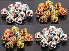 Lots 20 pcs  Rhinestone Crystal Ball Spacer Loose Disco Beads Findings 10mm