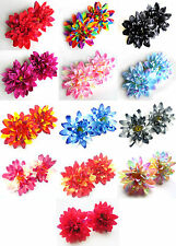 "12X Artificial Silk Dahlia Flower Heads 4"" for Home Wedding decoration Hair Clip"