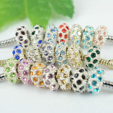 Wholesale Quality Crystal Silver Plated European Charm Loose Beads Fit Bracelets