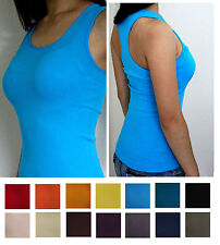 Fitness GYM Yoga Sport Racer back PLAIN Ribbed TANK TOP Seamless Fitted One size